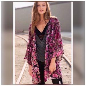 Gorgeous Lightweight Velvet Sheer Floral Kimono
